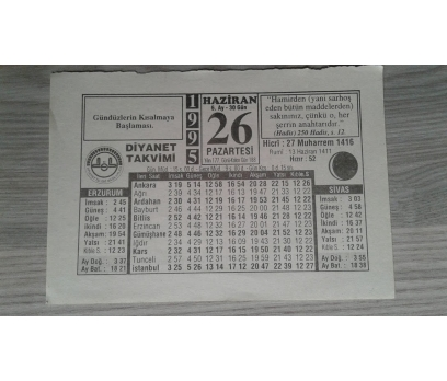 26 HAZİRAN 1995 PAZARTESİ
