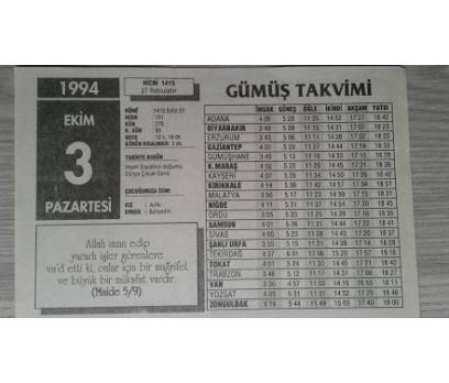 3 EKİM 1994 PAZARTESİ