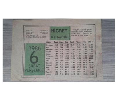 6 ŞUBAT 1986 PERŞEMBE