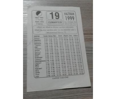 19 HAZİRAN 1999 CUMARTESİ TAKVİM YAPRAĞI