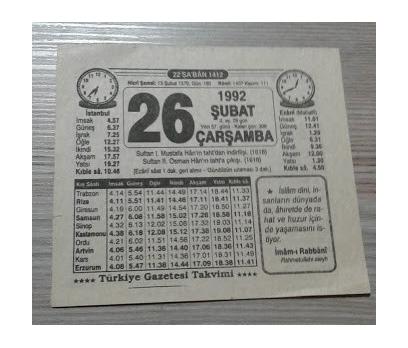 26 ŞUBAT 1992 ÇARŞAMBA TAKVİM YAPRAĞI