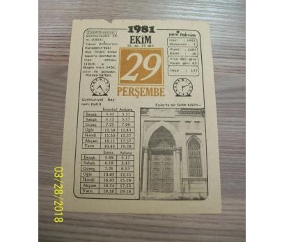 29 EKİM 1981 PERŞEMBE TAKVİM YAPRAĞI