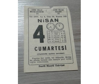 4 NİSAN 1970 CUMARTESİ TAKVİM YAPRAGI