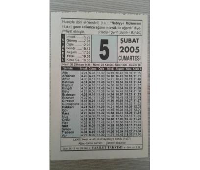 5 ŞUBAT 2005 CUMARTESİ TAKVİM YAPRAĞI