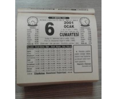6 OCAK 2001 CUMARTESİ TAKVİM YAPRAĞI