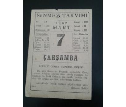 7 Mart 1962 Çarşamba Takvim Yaprağı