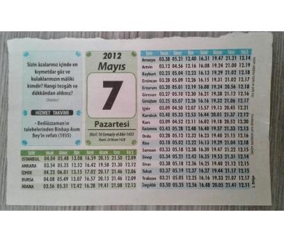 7 MAYIS 2012 PAZARTESİ TAKVİM YAPRAĞI