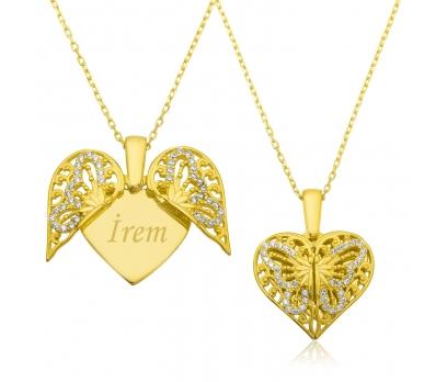 Gümüş İsimli Kalp Kelebek Kolye