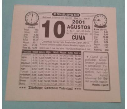 10 AĞUSTOS 2001CUMA TAKVİM YAPRAĞI