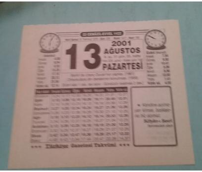 13 AĞUSTOS 2001 PAZARTESİ TAKVİM YAPRAĞI