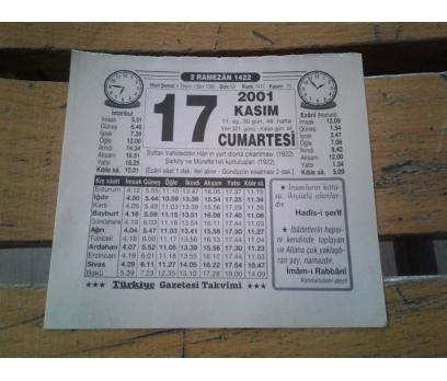 17 KASIM 2001 CUMARTESİ TAKVİM YAPRAĞI 1