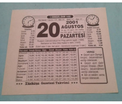 20 AĞUSTOS 2001 PAZARTESİ TAKVİM YAPRAĞI