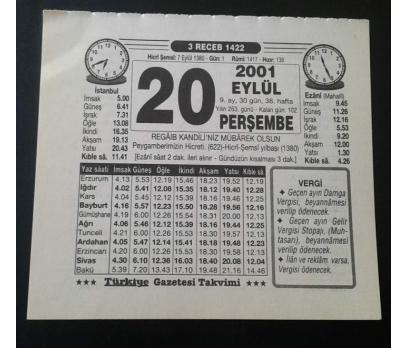 20 EYLÜL 2001 PERŞEMBE TAKVİM YAPRAĞI