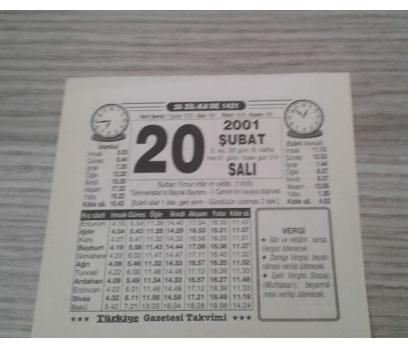 20 ŞUBAT 2001 SALI TAKVİM YAPRAĞI