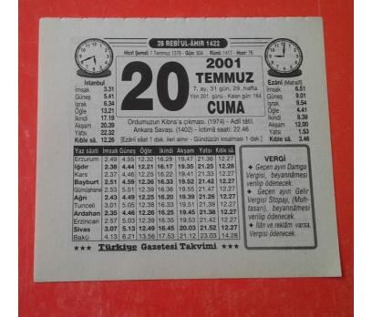 20 TEMMUZ 2001 CUMA TAKVİM YAPRAĞI