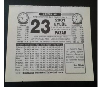 23 EYLÜL 2001 PAZAR TAKVİM YAPRAĞI