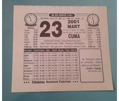 23 MART 2001 CUMA TAKVİM YAPRAĞI