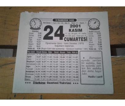 24 KASIM 2001 CUMARTESİ TAKVİM YAPRAĞI