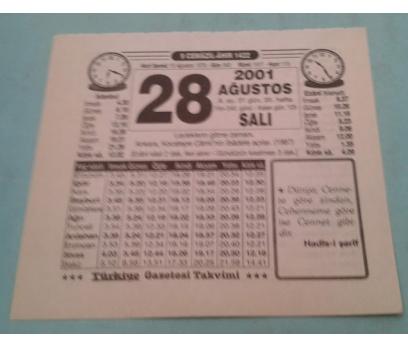 28 AĞUSTOS 2001 SALI TAKVİM YAPRAĞI