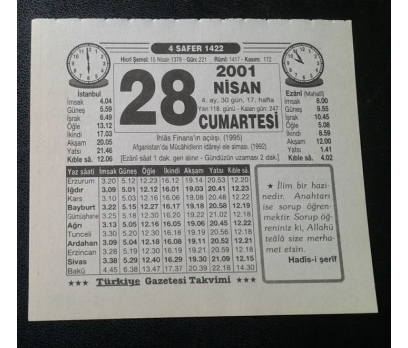 28 NİSAN 2001 CUMARTESİ TAKVİM YAPRAĞI
