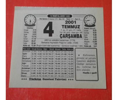 4 TEMMUZ 2001 ÇARŞAMBA TAKVİM YAPRAĞI