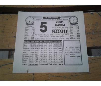5 KASIM 2001 PAZARTESİ TAKVİM YAPRAĞI