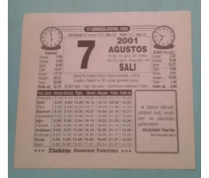7 AĞUSTOS 2001 SALI TAKVİM YAPRAĞI