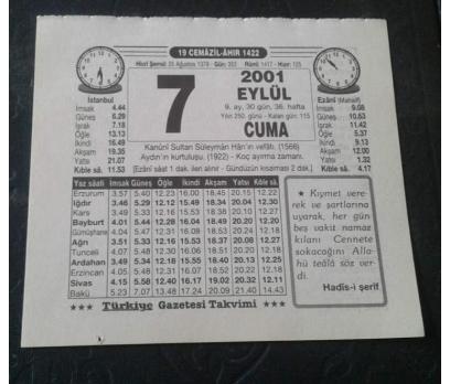 7 EYLÜL 2001 CUMA TAKVİM YAPRAĞI