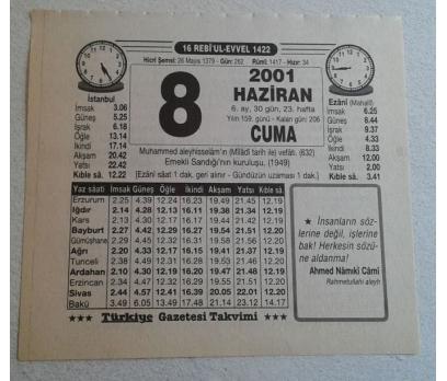 8 HAZİRAN 2001 CUMA TAKVİM YAPRAĞI