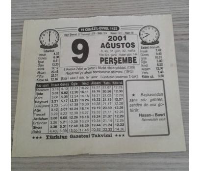 9 AĞUSTOS 2001 PERŞEMBE TAKVİM YAPRAĞI
