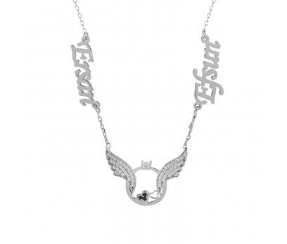 Glorria Kişiye Özel İsimli Kanat Gümüş Kolye GLR748
