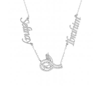 Glorria Kişiye Özel İsimli Tuğra Gümüş Kolye GLR757