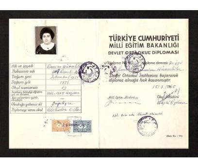D&K-ORTA OKUL DİPLOMASI 1965 YILI