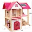 Mobilyalı Ahşap Ev Pembe Oyun Evi Bebek hediyeli