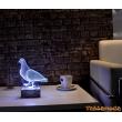 3 Boyutlu Led Lamba Masa Gece Lambası Güvercin Kuş