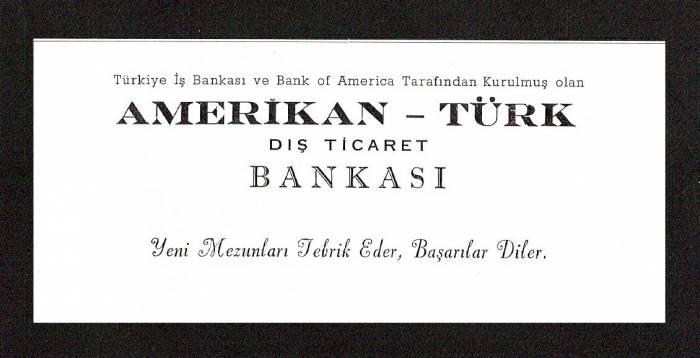 D&K--DIŞ TİCARET BANKASI-AMERİKAN-TÜRK REKLAMI. 1