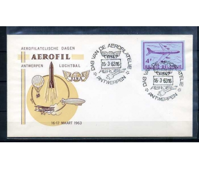 BELÇİKA 1963 UÇAK POSTASI AEROFİL SÜPER(YZ-1)