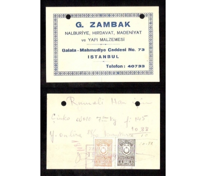 D&K-KARTVİZİT-G. ZAMBAK İSTANBUL