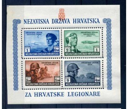 HIRVATİSTAN 1943 ASKERLER DANTELLİ  BLOK SÜPER