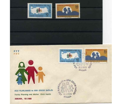 CUMH.SERİ + FDC 1983 ANA ÇOCUK SAĞLIĞI SÜPER