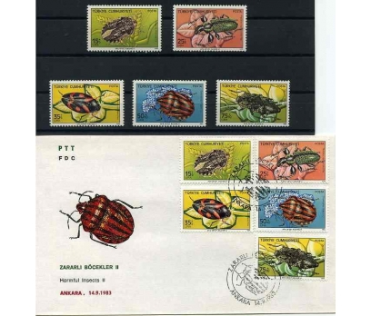 CUMH.SERİ + FDC 1983 ZARARLI BÖCEKLER II SÜPER