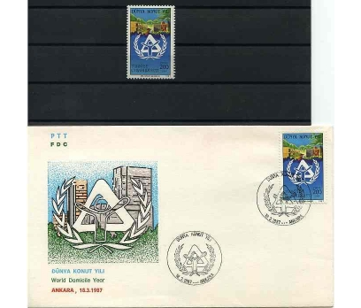 CUMH.SERİ + FDC 1987 DÜNYA KONUT YILI SÜPER