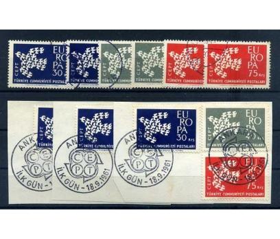 CUMHURİYET  DAMGALI 1961 E.CEPT 5 TAM SERİ(300415)