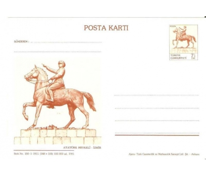 1981 DAMGASIZ ATA 7,5 TL  POSTA KARTI