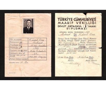 D&K-- ORTAOKUL DİPLOMASI KAMİL BAŞ 1943 YILI