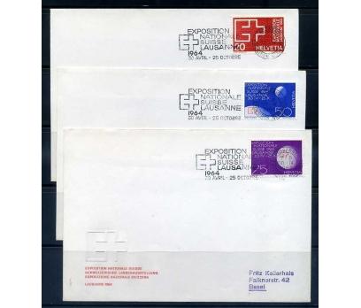 İSVİÇRE FDC 1963 KIZILHAÇ 3 FDC SÜPER (YZ-1)