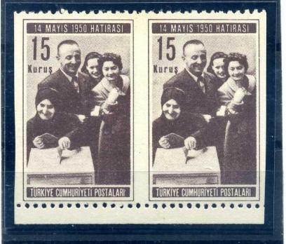 ERÖR CUMH.1950 SEÇİMLER 15 KRŞ KISMEN  DANTELSİZ