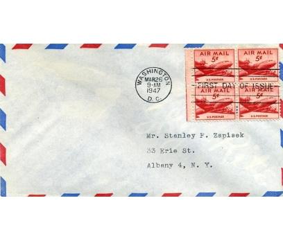 ABD  1947 UÇAK DÖRTLÜ BLOK PULLA FDC SÜPER(YZ-1)