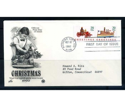 ABD FDC 1992 CHRISTMAS 3 ZARF SÜPER