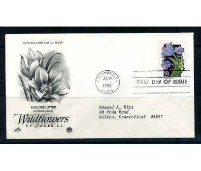 ABD FDC 1992 ÇİÇEK PASQUEFLOWER SÜPER